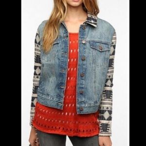 Urban Outfitters BDG Aztec Sleeve Jean Jacket